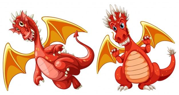Dragon rouge avec des ailes