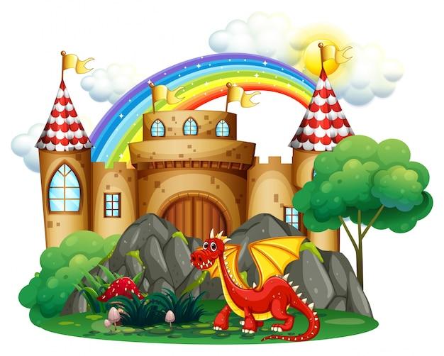 Dragon rouge à la tour du château