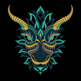 Dragon stylisé en vecteur ethnique