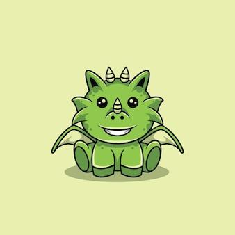 Dragon vert assis heureusement vecteur de personnage de dessin animé premium
