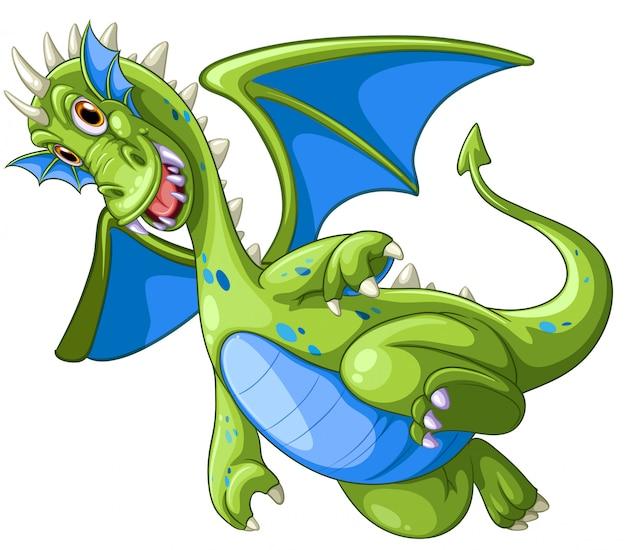 Dragon vert sur fond blanc