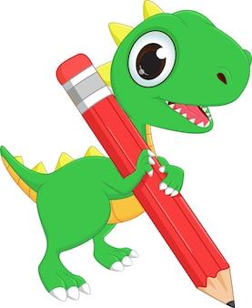 Dragon vert mignon avec un crayon