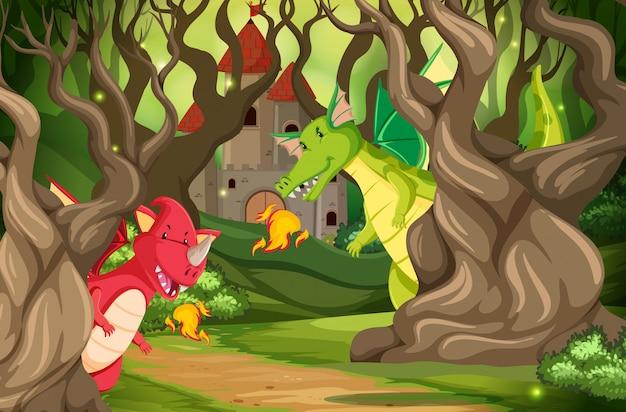 Dragons dans une scène de bois de château