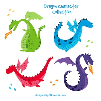 Dragons dessinés à la main avec un style charmant