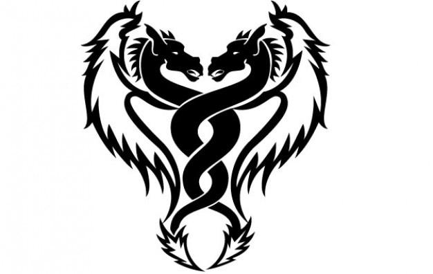 Dragons jumeaux vectoriel