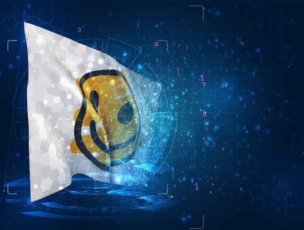Drapeau 3d de vecteur de sourire jaune gai sur le fond bleu avec des interfaces de hud