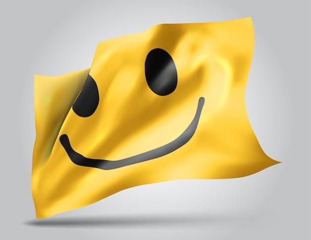 Drapeau 3d de vecteur de sourire jaune gai isolé sur fond blanc