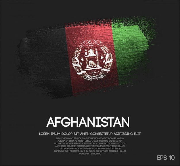 Drapeau de l'afghanistan fait de paillettes sparkle brush paint vector
