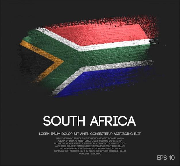 Drapeau de l'afrique du sud en peinture à paillettes scintillantes