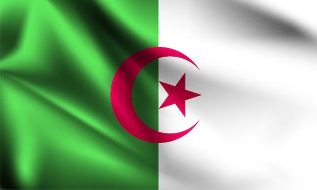 Drapeau de l'algérie dans le vent. partie d'une série. agitant le drapeau de l'algérie.