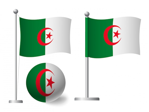 Drapeau de l'algérie sur l'icône de poteau et boule