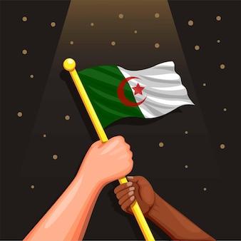 Drapeau de l'algérie en main symbole pour la célébration de la fête de l'indépendance 5 juillet concept en illustration de dessin animé