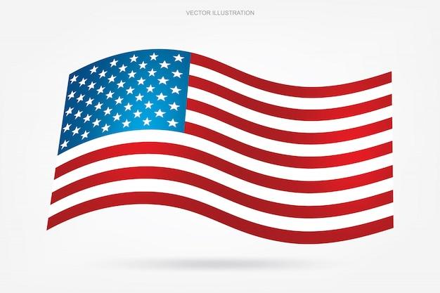 Drapeau américain abstrait sur fond blanc.