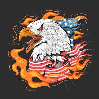 Drapeau américain aigle