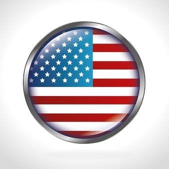 Drapeau américain arrondi