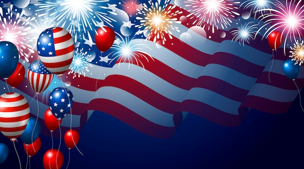 Drapeau américain et ballons avec bannière de feux d'artifice pour les états-unis 4 juillet fête de l'indépendance des états-unis