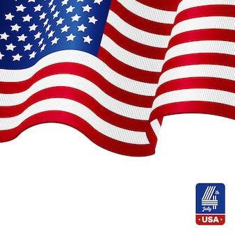 Drapeau américain sur fond blanc. joyeux 4 juillet.