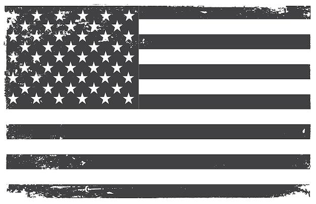 Drapeau américain grunge noir et blanc