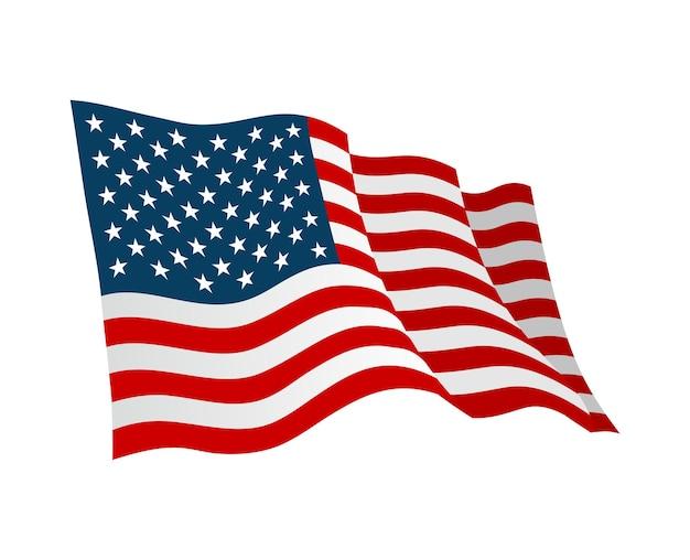 Drapeau américain. illustration de couleur plate de vecteur isolée sur blanc