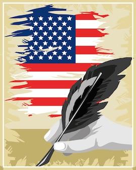 Drapeau américain de l'indépendance de la déclaration vintage