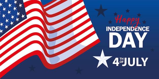 Drapeau américain joyeux jour de l'indépendance
