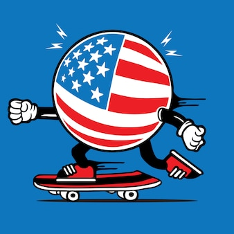 Drapeau américain skater skateboard