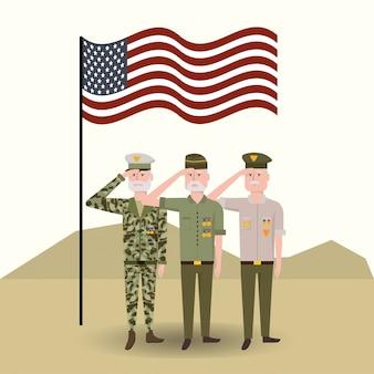 Drapeau américain avec des soldats vétérans