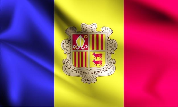 Drapeau d'andorre dans le vent. partie d'une série. andorre agitant le drapeau.