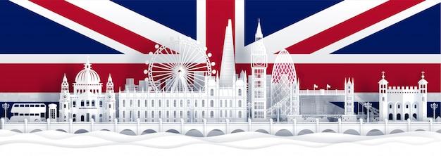 Drapeau anglais et monuments célèbres en papier découpé