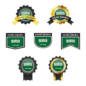 Drapeau de l'arabie saoudite avec étiquette insigne emblème