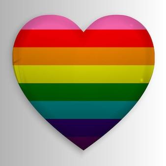 Drapeau arc-en-ciel gay lgbt 3d sur coeur brillant