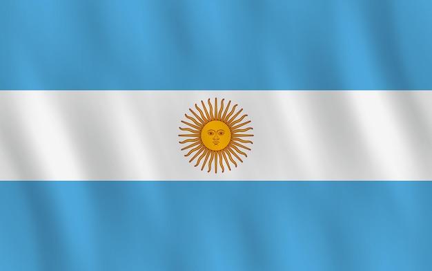 Drapeau de l'argentine avec effet ondulant, proportion officielle.