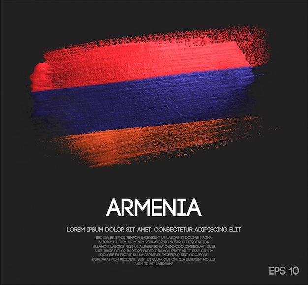 Drapeau de l'arménie fait de paillettes sparkle brush peinture vecteur