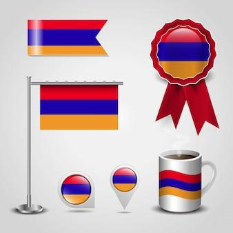 Drapeau arménien imprimé sur différents objets
