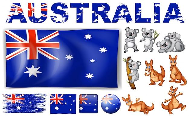 Drapeau de l'australie dans différentes conceptions et illustration des animaux sauvages