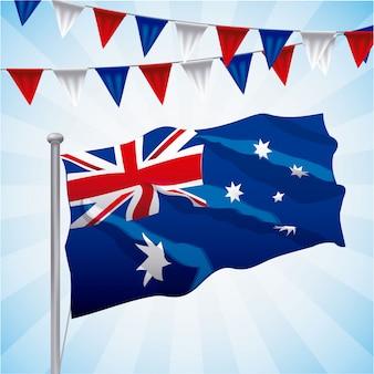 Drapeau australien agité sur bleu