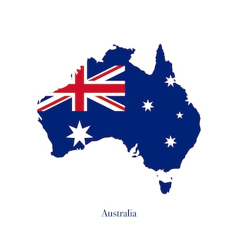 Drapeau australien sur la carte de l'australie isolé sur fond blanc