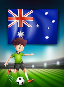 Drapeau australien et joueur de football