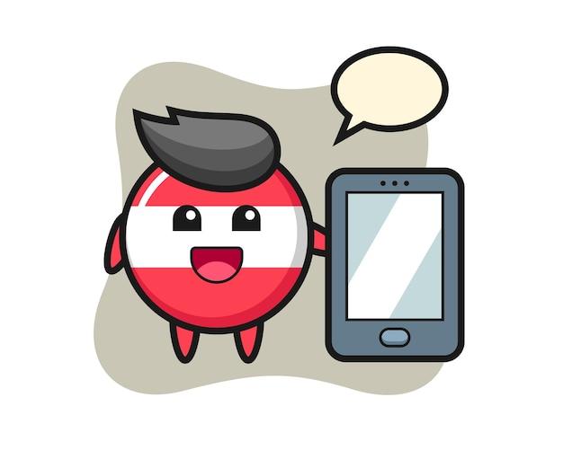 Drapeau autriche insigne illustration caricature tenant un smartphone