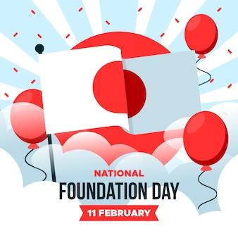 Drapeau et ballons de la journée nationale de la fondation du japon