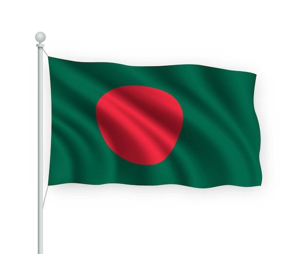 Drapeau bangladesh sur mât isolé sur blanc