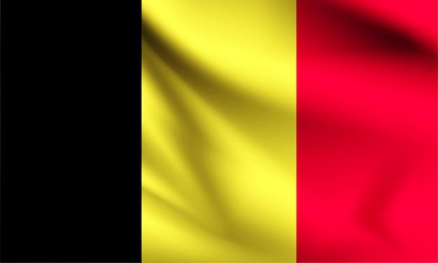 Drapeau de la belgique dans le vent. partie d'une série. belgique, agitant le drapeau.