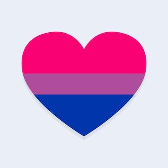 Drapeau bisexuel en forme de coeur