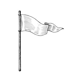 Drapeau blanc dessiné à la main