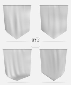 Drapeau blanc réaliste ou maquette de fanion
