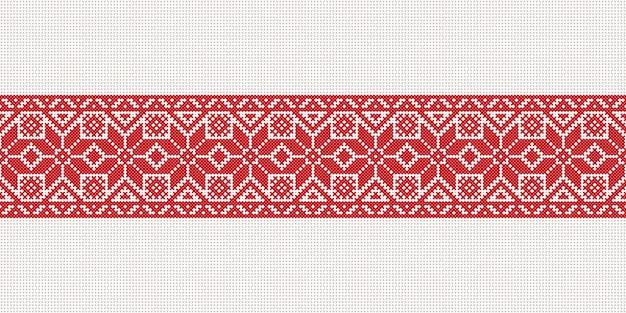 Drapeau blanc-rouge-blanc de vecteur, symbole de la liberté biélorussie avec ornement national biélorussie. motif ethnique slave. broderie, point de croix