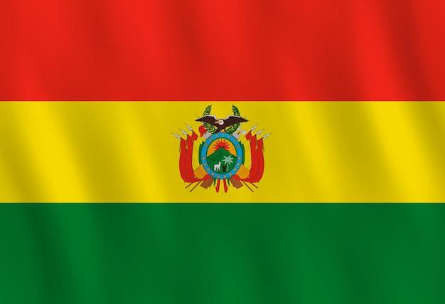 Drapeau de la bolivie avec effet ondulant, proportion officielle.