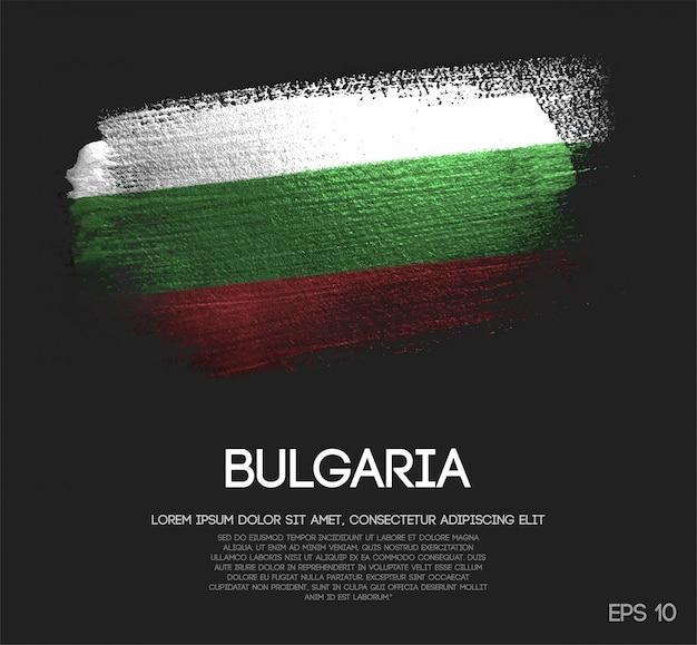 Drapeau de la bulgarie fait de paillettes sparkle brush paint vector
