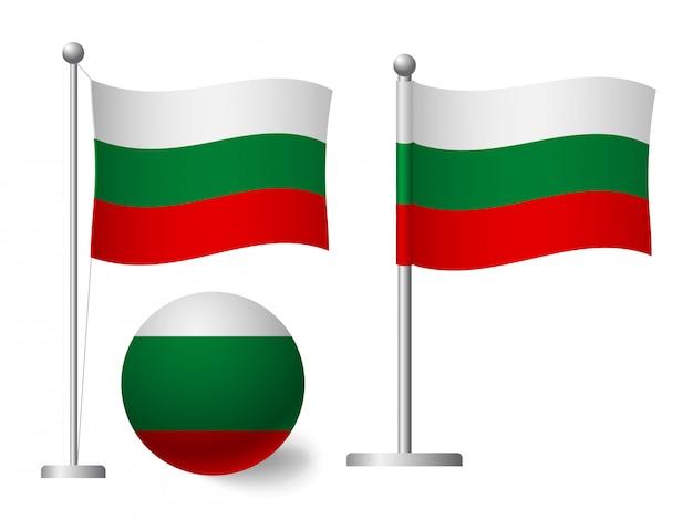 Drapeau de la bulgarie sur l'icône de poteau et boule