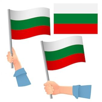 Drapeau de la bulgarie en jeu de main